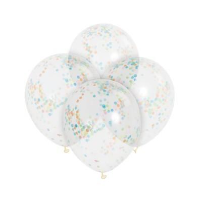 6 Balões confettis multicolor