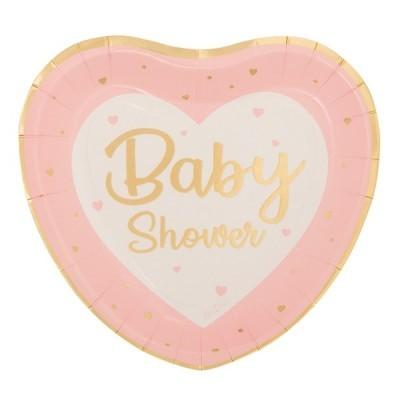 8 Pratos coração baby shower rosa
