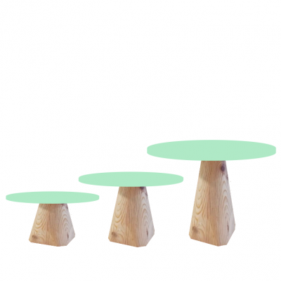 Trio Bases de madeira cónico