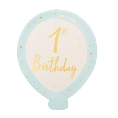 8 pratos balão 1ºaniversário azul