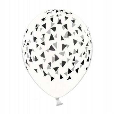 Balão latex transparente triângulos pretos