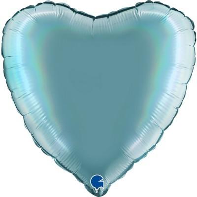 Balão coração acetinado Azul