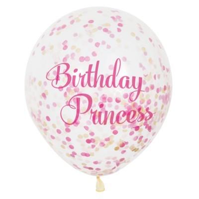 6 balões confetti birthday princess