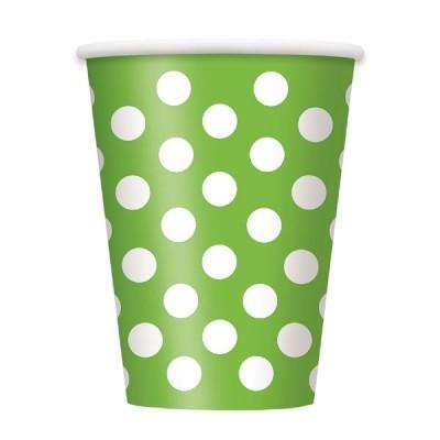 6 Copos verde  bolas