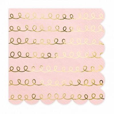 20 Guardanapos rosa e dourado
