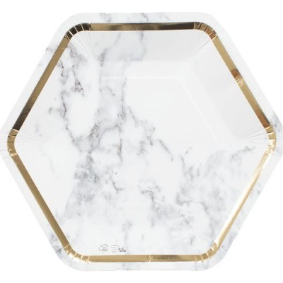 8 Pratos marmore ouro
