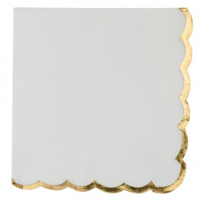 Guardanapos Brancos Rebordo Ouro