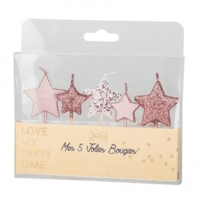 5 Velas Estrela Glitter Rosegold