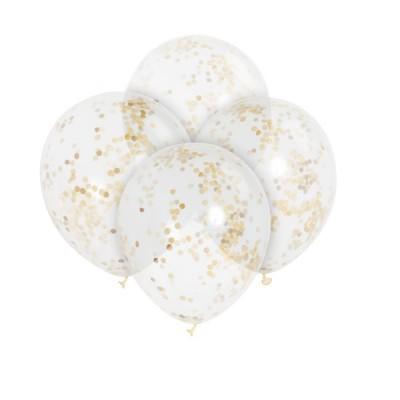 6 balões confetti dourado