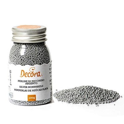Mini pérolas de açúcar prata