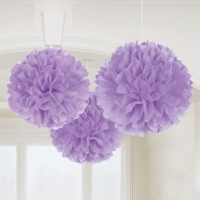 3 Pompons lilás