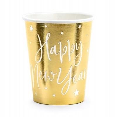 6 Copos de papel dourados Happy New Year