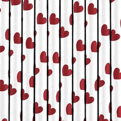 10 Palhinhas corações vermelhos
