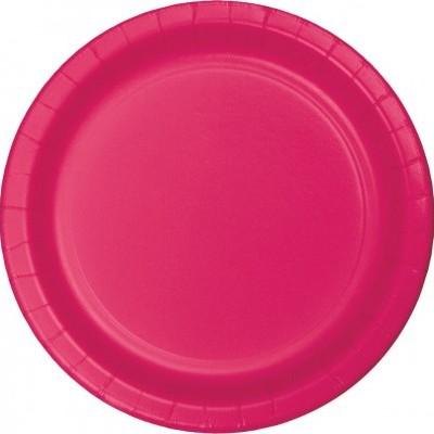 8 pratos rosa fushia 23cm