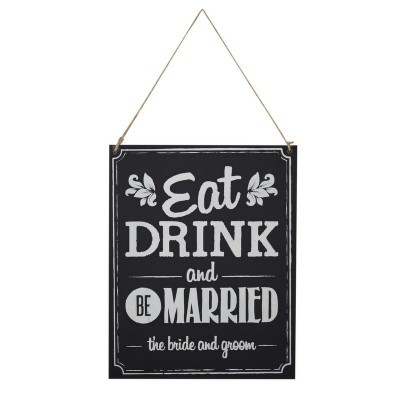 "Placa em madeira ""Eat, Drink, Be married"""