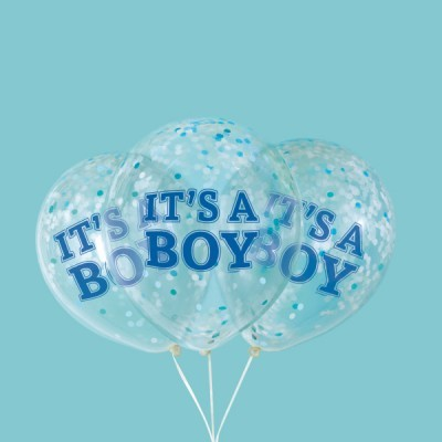 Balão confetti It's a boy azul