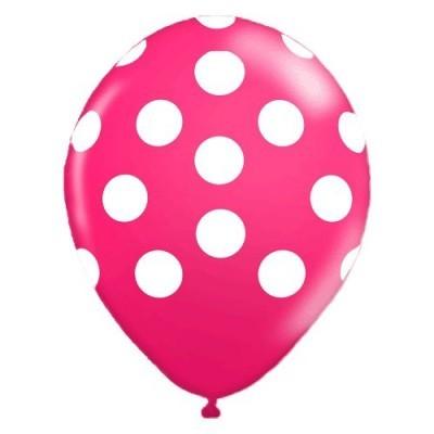 Balões Bolinhas Brancas rosa fushia
