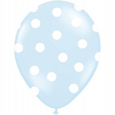 Balão latex azul bolas brancas