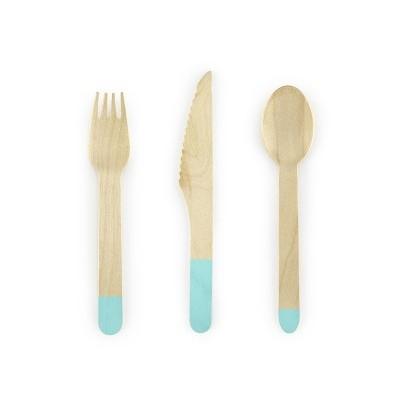 Talheres de madeira - azul tiffany x18