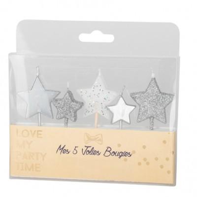 5 Velas Estrela Glitter Prata