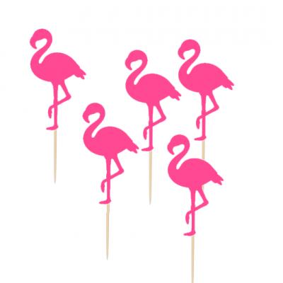 12 Cupcake toppers Flamingos