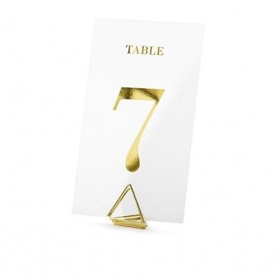 Marcadores de mesa transparentes ouro