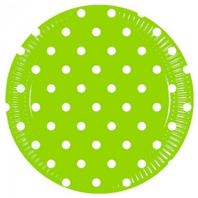 8 Pratos verde bolas 23cm