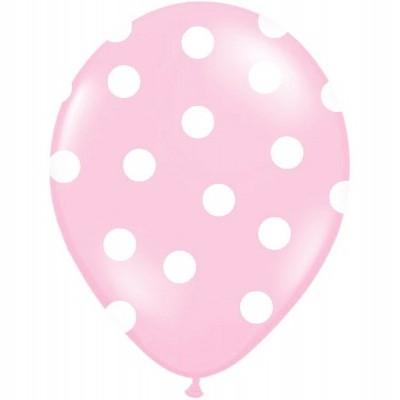 Balão latex rosa bolas brancas