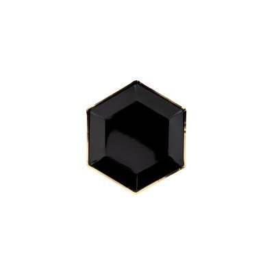 Pratos - preto e dourado x6