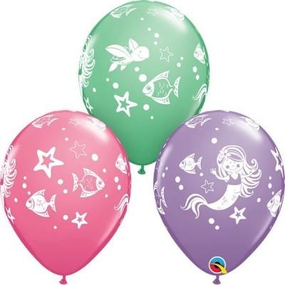 6 balões impressos sereia