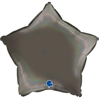 Balão estrela acetinado Cinzento