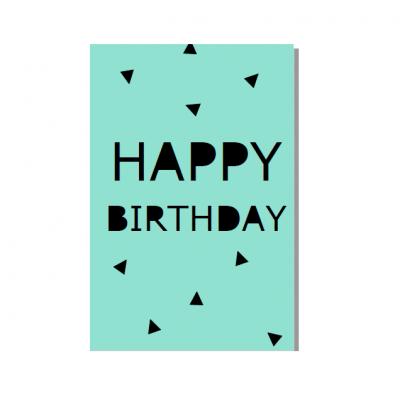 """Postal """"Happy birthday"""" Menta"""