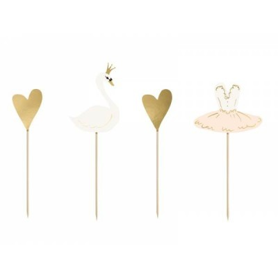 4 Cupcake toppers Lovely swan