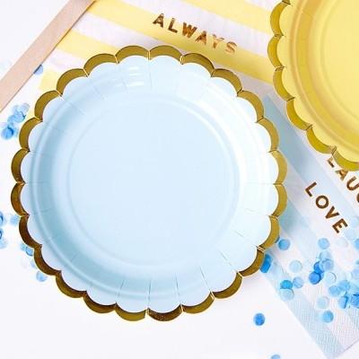 6 Pratos - azul e dourado 18cm