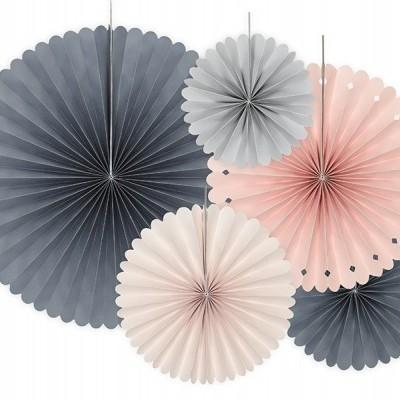 Rosetas mix rosa e cinza x5