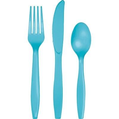Set de 24 talheres azul turquesa