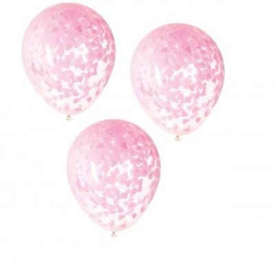 Balão confetti corações rosa