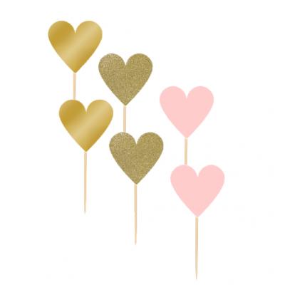 12 Cupcake toppers Corações