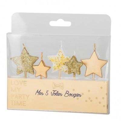 5 Velas Estrela Glitter Ouro