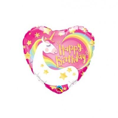 Balão coração unicórnio 43cm