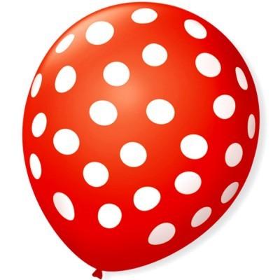 Balões Bolinhas Brancas vermelho