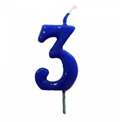 Vela Nº Azul Cobalto  -6cm
