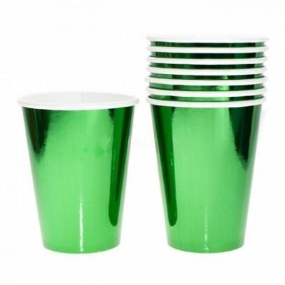 8 Copos verde foil