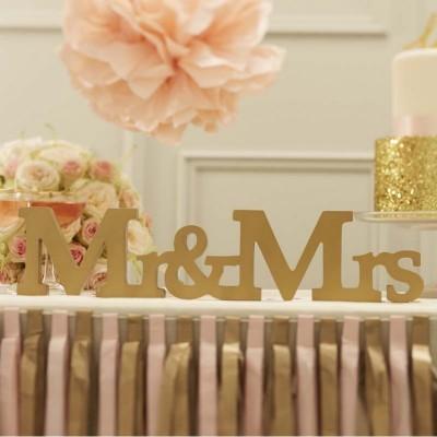 Letras Mr&Mrs em madeira - Ouro