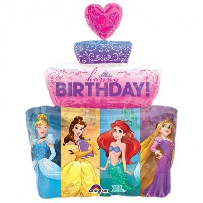 Balão foil princesas bolo
