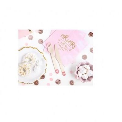 Talheres de madeira - corações rosa x18