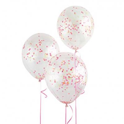 6 balões confetti neon