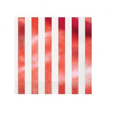 Guardanapos risca vermelho foil