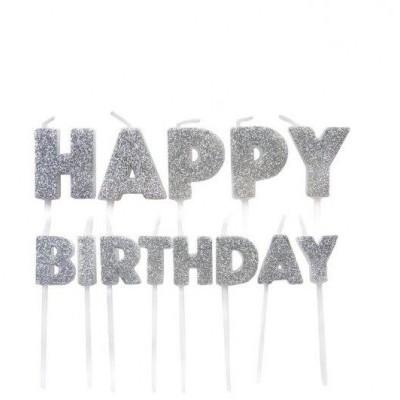 Velas Happy Birthday Prata Glitter