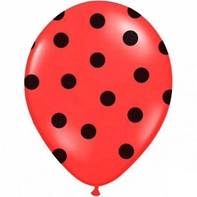 Balão latex vermelho bolas pretas